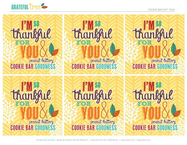 Peanut butter bars recipe hostess with the mostess free printable gift label peanut butter gift tags negle Gallery