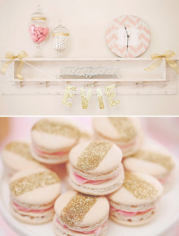 Gold Glitter Striped Macarons And Pink Party Decor Ideas Large Birthday Balloons